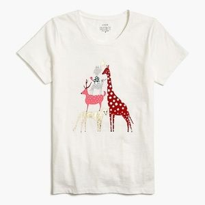 J Crew Animal Tree Holiday Graphic T-shirt